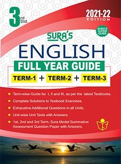 SURA`S 3RD STD ENGLISH FULL YEAR GUIDE (TERM1+TERM2+TERM3) 2021-22 Edition - based on Samacheer Kalvi Textbook 2021