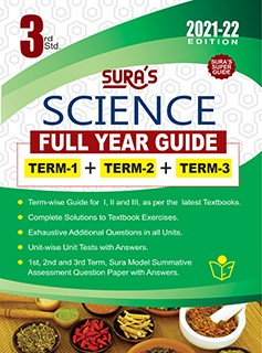 SURA`S 3RD STD SCIENCE FULL YEAR GUIDE (TERM1+TERM2+TERM3) ENGLISH MEDIUM 2021-22 Edition - based on Samacheer Kalvi Textbook 2021