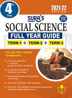 SURA`S 4TH STD SOCIAL SCIENCE FULL YEAR GUIDE (TERM1+TERM2+TERM3) ENGLISH MEDIUM 2021-22 Edition - based on Samacheer Kalvi Textbook 2021