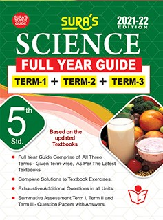 SURA`S 5TH STD SCIENCE FULL YEAR GUIDE (TERM1+TERM2+TERM3) ENGLISH MEDIUM 2021-22 Edition - based on Samacheer Kalvi Textbook 2021