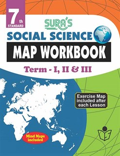 7th Standard Social Science Map Work Book Term I II and III English Medium Tamilnadu State Board Samcheer Syllabus