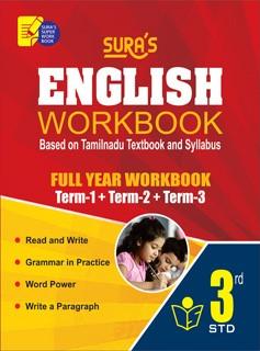 Sura`s 3rd Std English Full Year Workbook Exam Guide (Latest Edition)